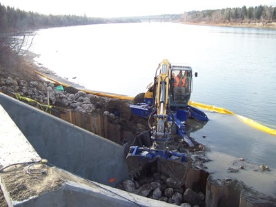 Riprap Placement, Working In Stream Within Turbidity Curtain